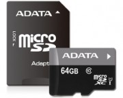 A-DATA - UHS-I MicroSDXC 64GB class 10 + adapter AUSDX64GUICL10-RA1