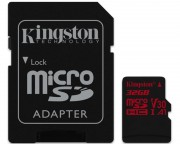 Kingston memorijske kartice - UHS-I U3 MicroSDHC 32GB V30+ Adapter SDCR/32GB React