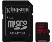 Kingston memorijske kartice - UHS-I U3 MicroSDXC 64GB V30+ Adapter SDCR/64GB React