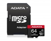 A-DATA - UHS-I U3 MicroSDXC 64GB V30S class 10 + adapter AUSDX64GUI3V30SHA2-RA1
