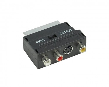 Adapter Scart - 3xRCA + S-Video crni